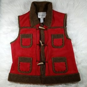 Women's Toggle Red Brown Barn Vest Large